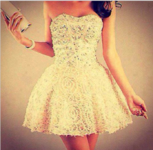dress clothes beautiful summer prom pretty pearl girl model in love prom dress lace dress white white dress sparkle formal dress shiny sparkling dress gold gold patten wanted special