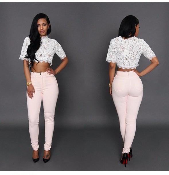 pants blouse white lace