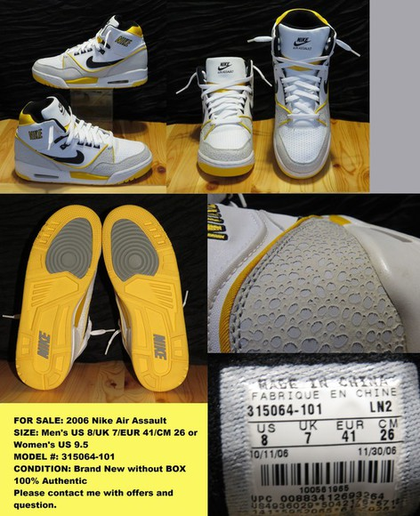 yellow shoes nike air nike air assault 2006 sneakers basketball shoes