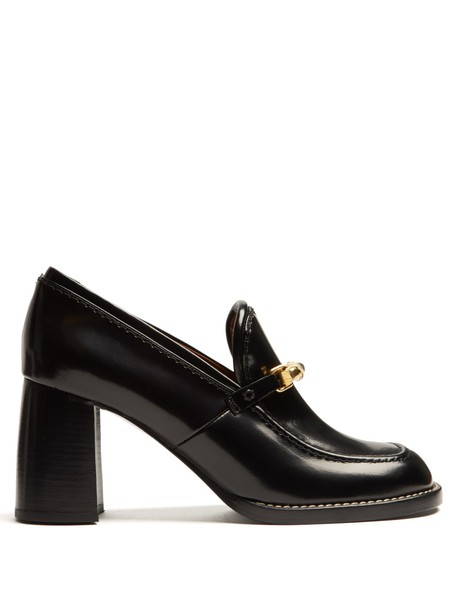 Joseph heel loafers leather black shoes