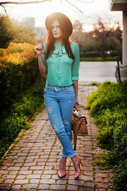 the bow-tie blouse jeans hat bag shoes