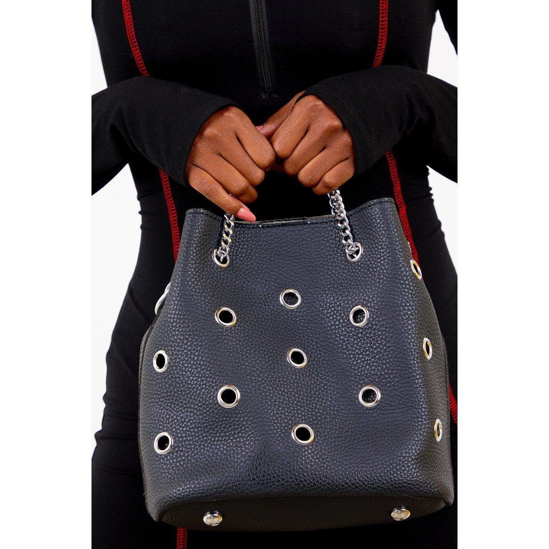 Black Grommet Handbag