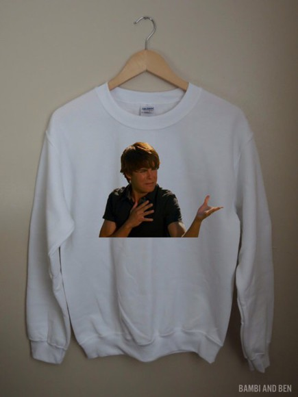 crewneck t-shirt zac efron clothes brandy brandy melville pacsun style hsm teen fashion hoodie