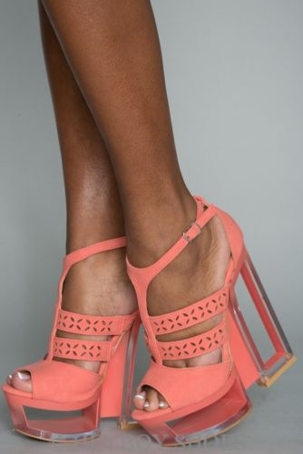 Coral Ankle Strap Lucite Wedge Sandal Heels Stylish Shoe