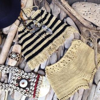 shorts bohemian crochet sand cream stripes beach shells
