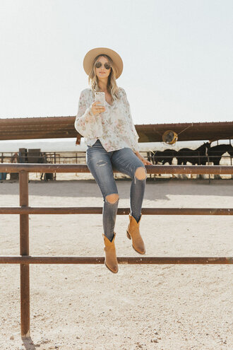 a little dash of darling blogger top hat shoes cowgirl boots ripped jeans summer outfits