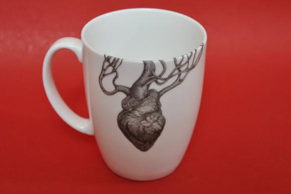 heart bag mug