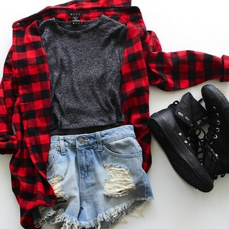 top nyct clothing flannel flannel shirt plaid flannel plaid shirt ribbed knit crop top converse distressed denim shorts