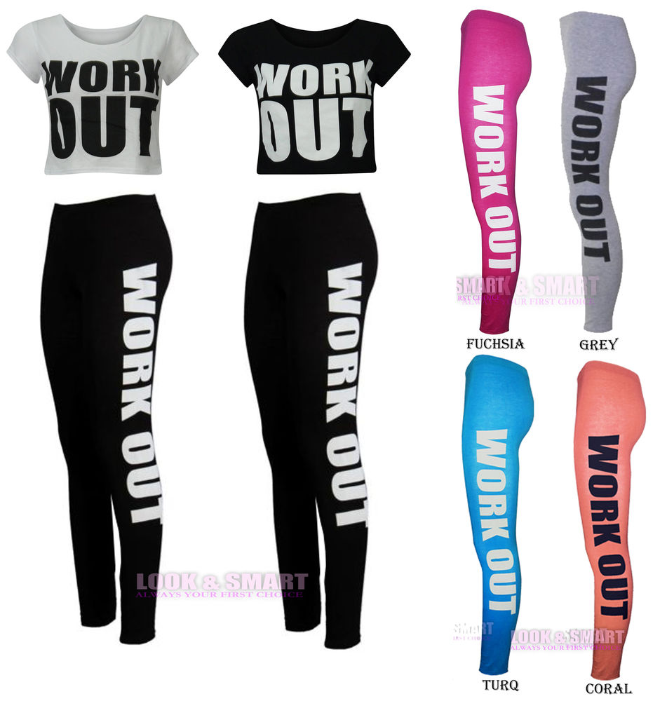 NEW WOMENS WORK OUT PRINT LEGGINGS BOTTOMS UK SIZE 8-14