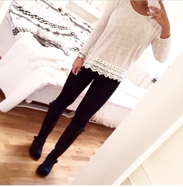 sweater beige oversized sweater tumblr outfit