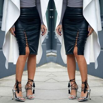skirt maniere de voir faux leather effect pencils midi lace up tie tied