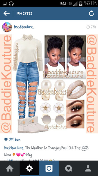 jeans ripped jeans dope outfit idea outfit baddiekouture_ jewels shirt shoes