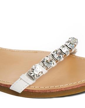 New Look   New Look Ginola Chunky Gem Flat Sandals at ASOS