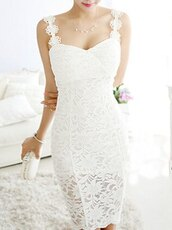 dress,lace,white,flowers,cute,kawaii,bride,ocassion dress,bridesmaid,fashion,style,romantic summer dress,midi,white dress,crochet,crochet dress,lace dress,romantic,romantic dress,romantic summer dres,cute dress,girly,girly dress,prom,prom dress,short prom dress,white prom dress,date outfit,summer dress,summer outfits,spring dress,spring outfits,classy dress,elegant dress,cocktail dress