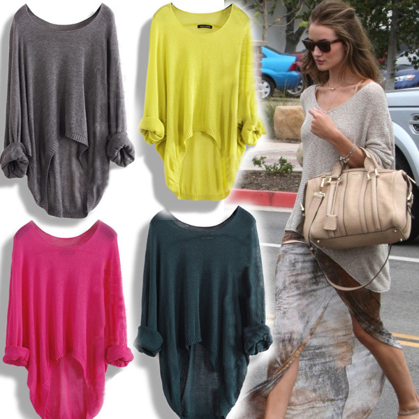 New Fashion Woman's HOT Ladies Casual Batwing Round Neck Knitted Pullover Jumper Loose Long Sweater-inPullovers from Apparel & Accessories on Aliexpress.com