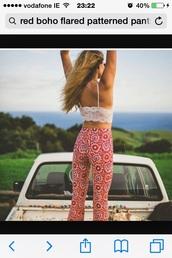 pants,boho red pants,boho pants