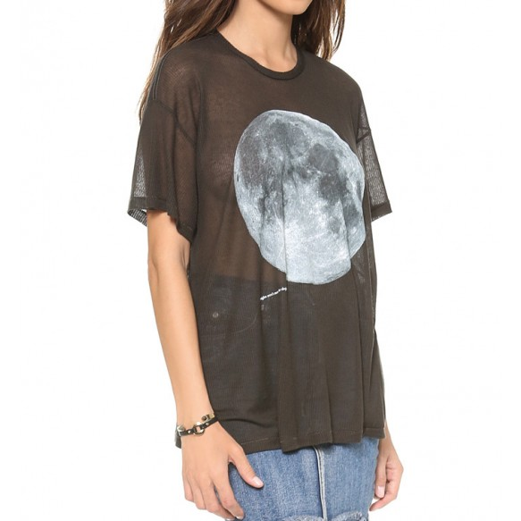 Moon Print Oversized Tee In Ribbed Jersey