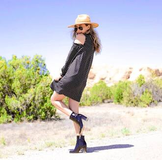 dress hat tumblr mini dress polka dots cut-out long sleeves long sleeve dress boots patent boots ankle boots sun hat shoes