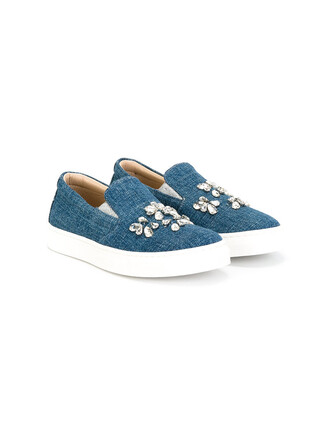 embellished sneakers cotton blue shoes
