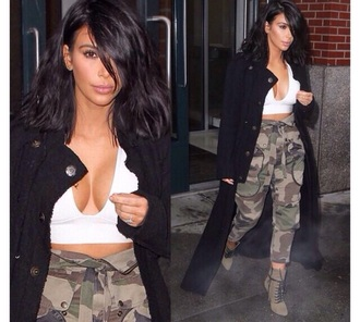 pants army pants top beautiful fashion kim kardashian jacket