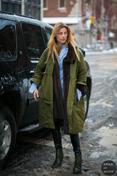 coat,tumblr,nyfw 2017,fashion week 2017,fashion week,streetstyle,green coat,oversized,oversized coat,winter outfits,winter coat,winter look,scarf,pants,black pants,leather pants,black leather pants,boots,green boots,high heels boots,shirt,blue shirt
