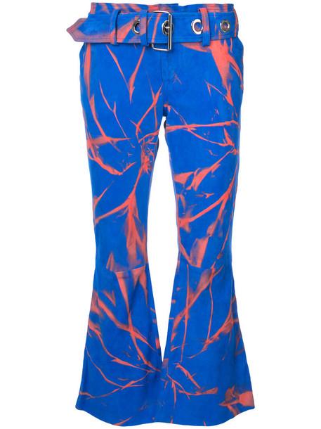 MARQUES'ALMEIDA women leather print blue pants