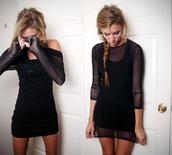 dress,black dress,celebrity style,t-shirt,mesh,t-shirt dress,black,american apparel,mini dress,little black dress,long sleeve dress,short dress,girly,cute,bodycon,blonde hair,crewneck,see through,sheer,overlay,mesh dress,mesh outfit,see through dress,short