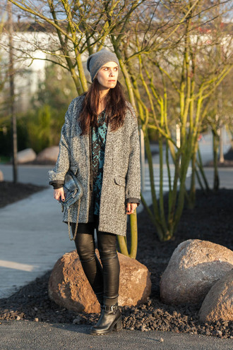 blogger punky b grey coat leather pants