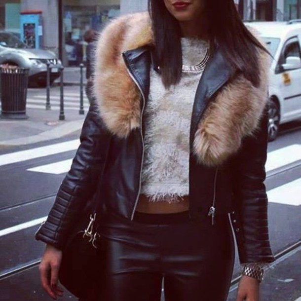 Jacket Jacket Clothes Fur Leather Leather Jacket Fur Collar