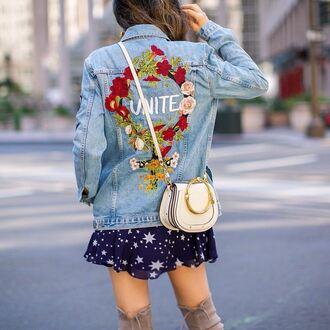 jacket tumblr denim denim jacket customized embroidered embroidered jacket bag white bag crossbody bag