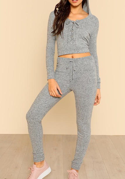 jumpsuit lace up girly grey knit two-piece matching set crop tops crop cropped leggings