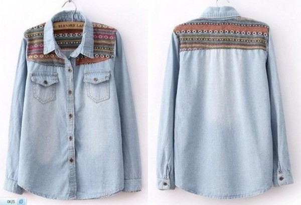 shirt denim shrit tribal print denim shirt vintage denim shirt tribe denim shirt aztec demin shirt zig zag denim shirt