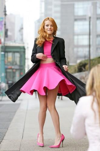 skirt top crop crop tops pink pumps bella thorne