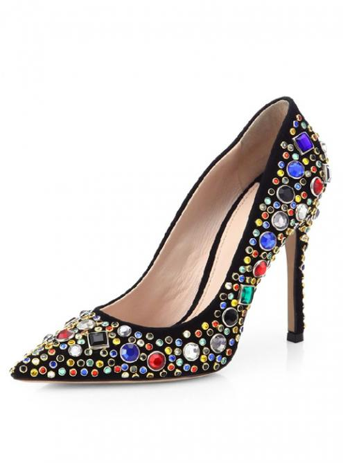 Black Luxury Diamond High-heeled Shoes YSY069$179