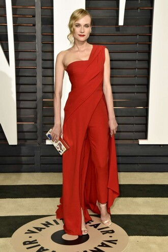 jumpsuit pants red dress diane kruger oscars 2015 one shoulder clutch bag
