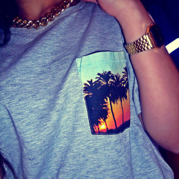 t-shirt palm tree print grey sunset grey shirt beach pocket gold chain gold watch palm tree print beach pocket shirt pocket shirt grey t-shirt t-shirt hawaiian print pattern