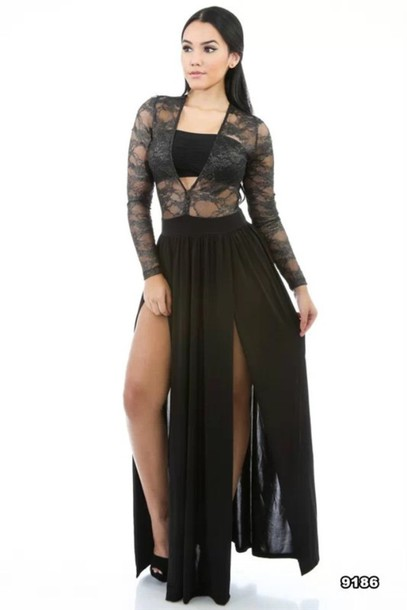 dress black dress lace dress slit dress slit slit maxi skirt skirt slit maxi skirt