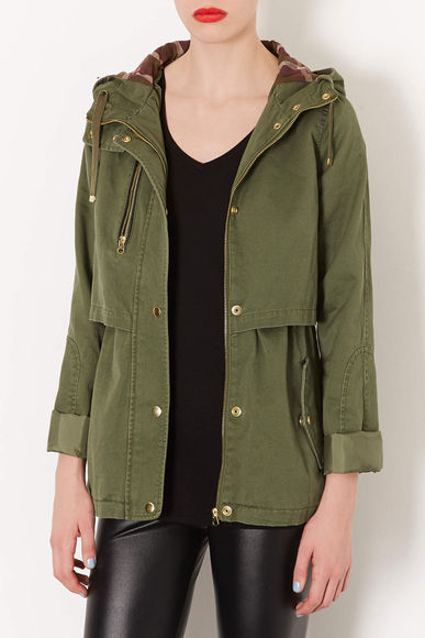 topshop jacket hooded lightweight jacket khaki