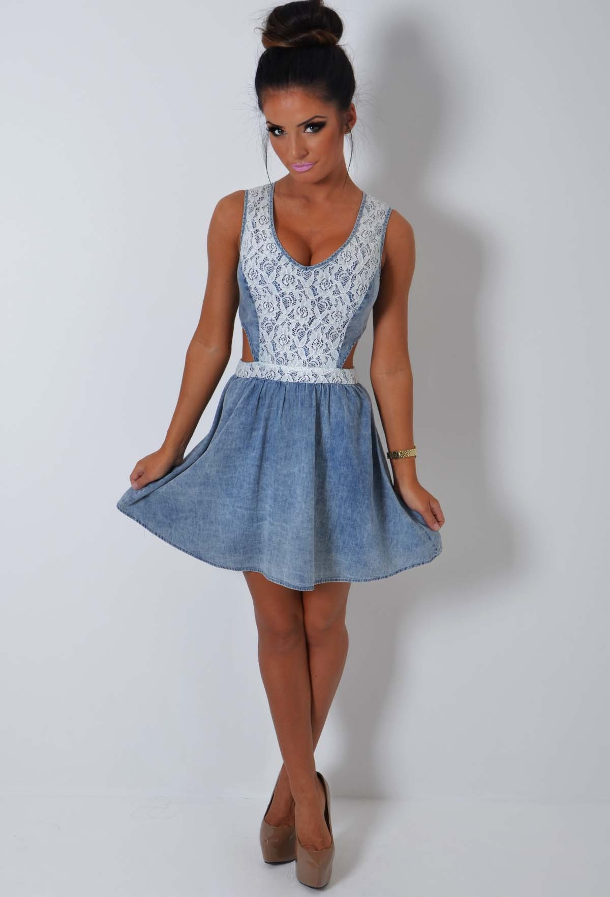Rock away blue denim and lace skater dress