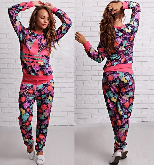 romper jumpsuit adidas floral pink tracksuit outfit outwear swag