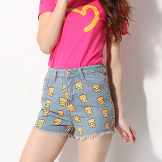 shorts blue jeans pink simpsond fair tumblr chic edgy funny yellow swag cool pretty high waisted shorts bart simpson