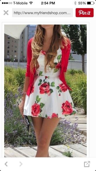 dress white big red flowers short