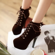 Winter Round Toe Stiletto High Heel Lace Up Short Buckle Black Suede Martens Boots_Boots_Womens Shoes_Cheap Clothes,Cheap Shoes Online,Wholesale Shoes,Clothing On lovelywholesale.com - LovelyWholesale.com