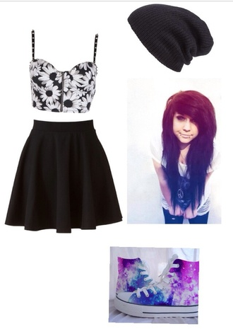 shoes galaxy print converse vans cute shoes skirt emo floral black skirt galaxy converse polyvore