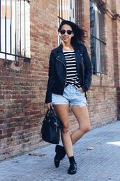 shoes,sunglasses,leather jacket,denim shorts,oxfords,blogger