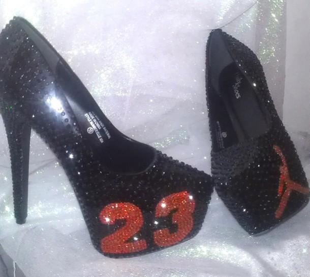 b793c0947b8a73 shoes custom red personalize air jordan jordans crystal swarovski swag  bling dope high heels black high