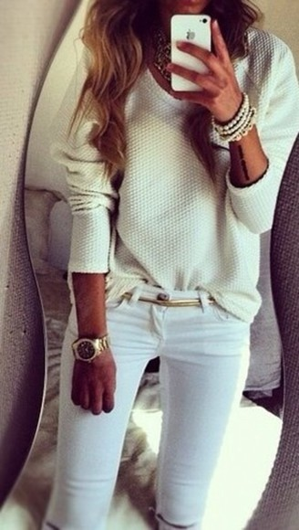 jewels white pearls bracelet statement necklace sweater oversized white sweater knit sweater gold belt metallic gold gold watch arm candy gold chain belt