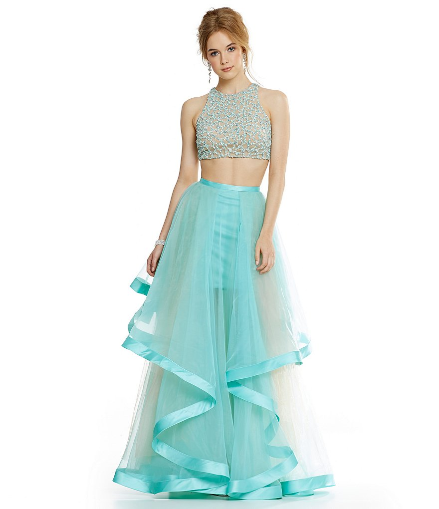 9933bd3b5dd3 Glamour by Terani Couture Beaded Bodice Crop-Top Two-Piece Ball Gown |  Dillards