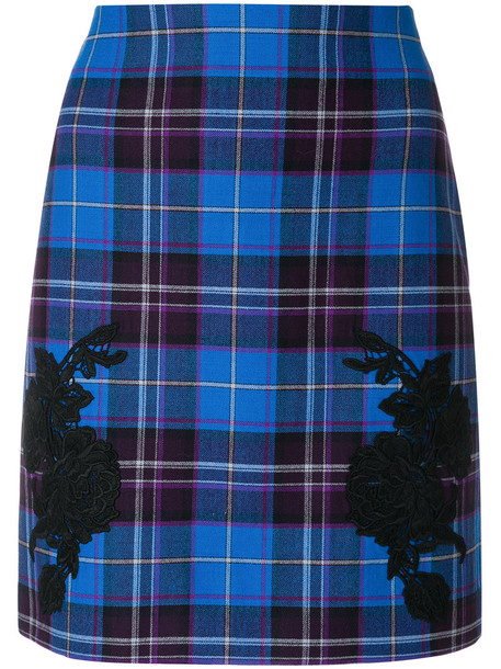 LA PERLA skirt women spandex blue silk wool