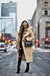 coat,tumblr,nude coat,teddy bear coat,winter outfits,winter coat,oversized,oversized coat,bag,chanel,sunglasses,mirrored sunglasses,denim,ripped jeans,jeans,boots,black boots